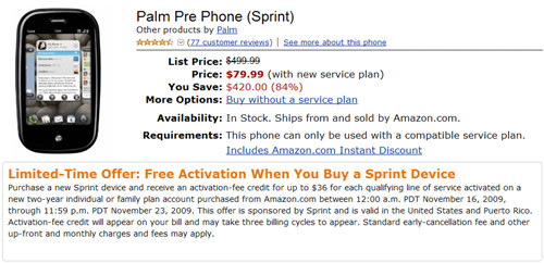 Palm Pre Amazon