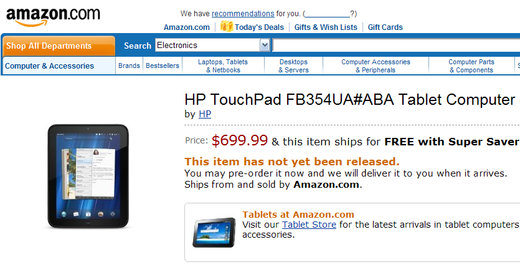 HP TouchPad 4G Amazon
