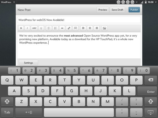 WordPress для webOS планшета HP TouchPad #3