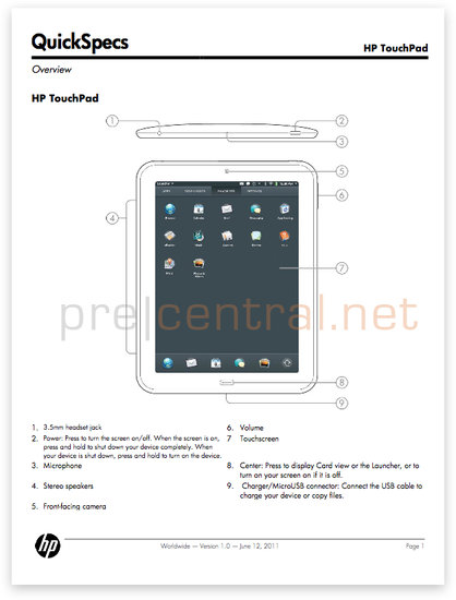 HP TouchPad QuickSpecs