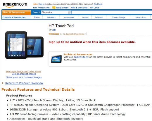 TouchPad on Amazon