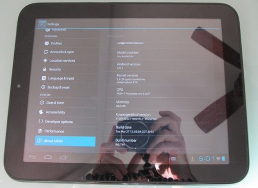 Выпущена очередная версия CyanogenMod 9 для планшета HP TouchPad